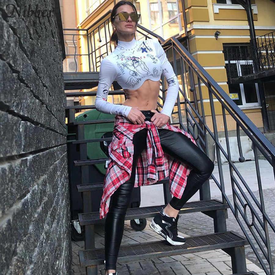 Nibber impresión básica manga larga crop tops mujer 2019 otoño caliente Irregular cropping design Punk street casual camiseta mujer