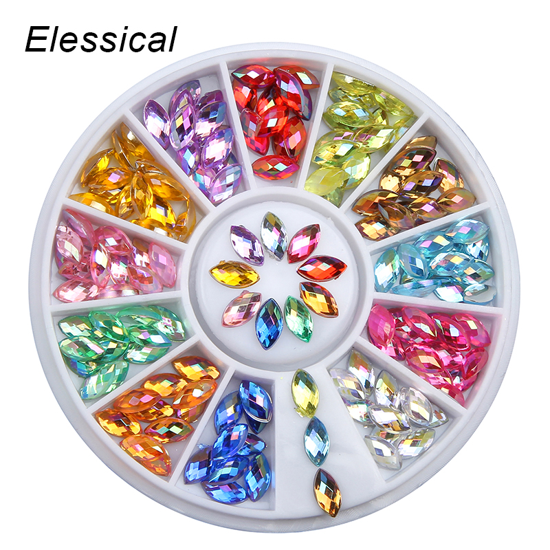 ELESSICAL Colorful Horse Eyes Design AB Rhinestones Nail