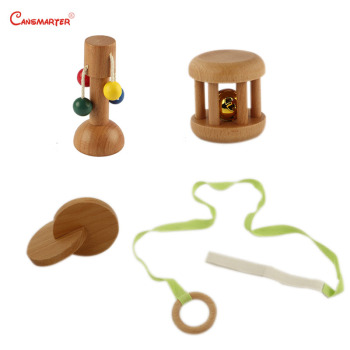 Montessori  Set Toys Right Brain Develop Baby Sensory Dollio Bell Discs Home Early Educational Toy Safe Wood Beech Game LT070-3 wooden sensory toys box with sliding lid attention practice game baby boy 0 3 years home educational toy montessori