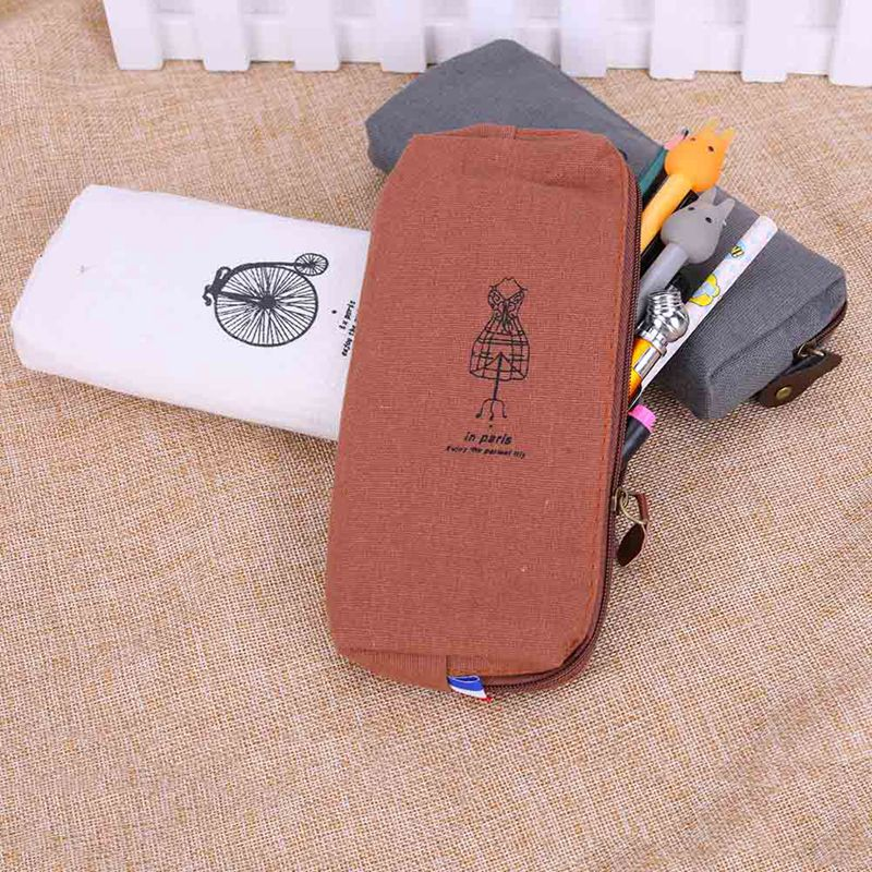 Zipper Bag Fashion Cute Vintage 1PC Hot Sale Purse Handbags Pen Case Coin Pouch Canvas Paris Pencil Cosmetic Makeup