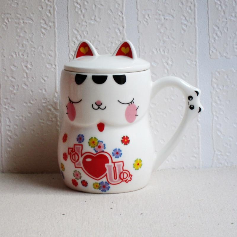 creative ceramic cartoon milk mug with lid breakfast cup office coffee cup drinkware gifts