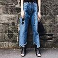 New Fashion 2017 Asymmetric Wide Leg Pants Jeans Women Loose Mid Waist Ankle-Length Pants Denim Ripped Washed Vingtage FemaleP45