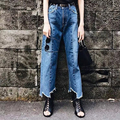 Nova Moda 2017 Calças Perna Larga Calça Jeans Mulheres Solto No Meio Da Cintura Assimétrica Tornozelo-Comprimento das Calças Jeans Rasgado Lavado Vingtage FemaleP45