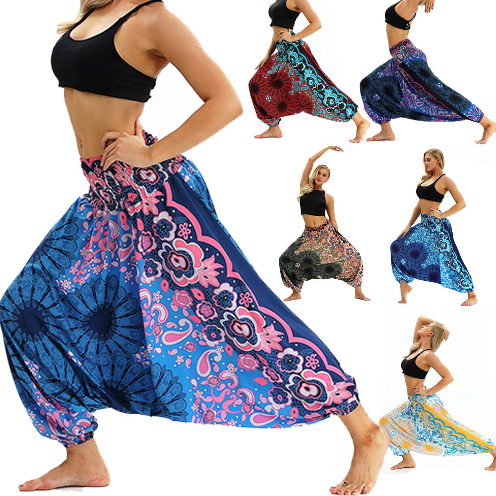 Women Men Pants Casual Woman High Waist Wide Leg Harem Trousers Baggy Boho Loose Aladdin Festival Hippy Jumpsuit Print Lady pant 25