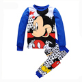 2016 New Girls 2Pcs Mickey Pyjamas Kids Cotton Casual Long Sleeve Lovely Animal Minnie Pajamas For Girls Children Clothing Sets