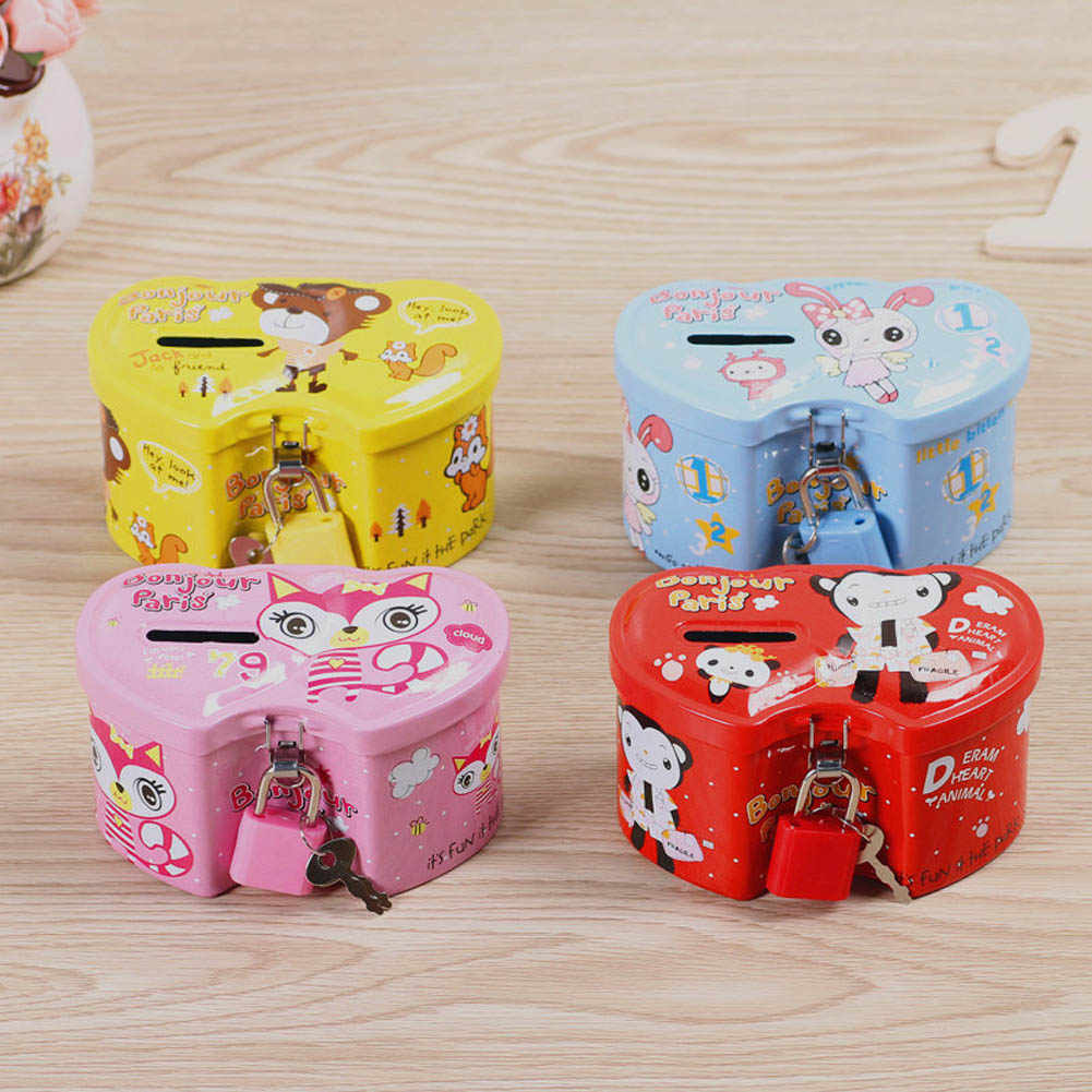 1Pcs Cartoon Money-boxes Double Heart Piggy Bank Tinplate Creative Money Saving Box Children Kids Birthday Gifts Color Random
