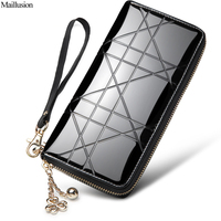 Maillusion Fashion Women Wallets Clutch Long Designer Zipper Plaid Patent Leather Female Wallet Geniuen Leather Money
