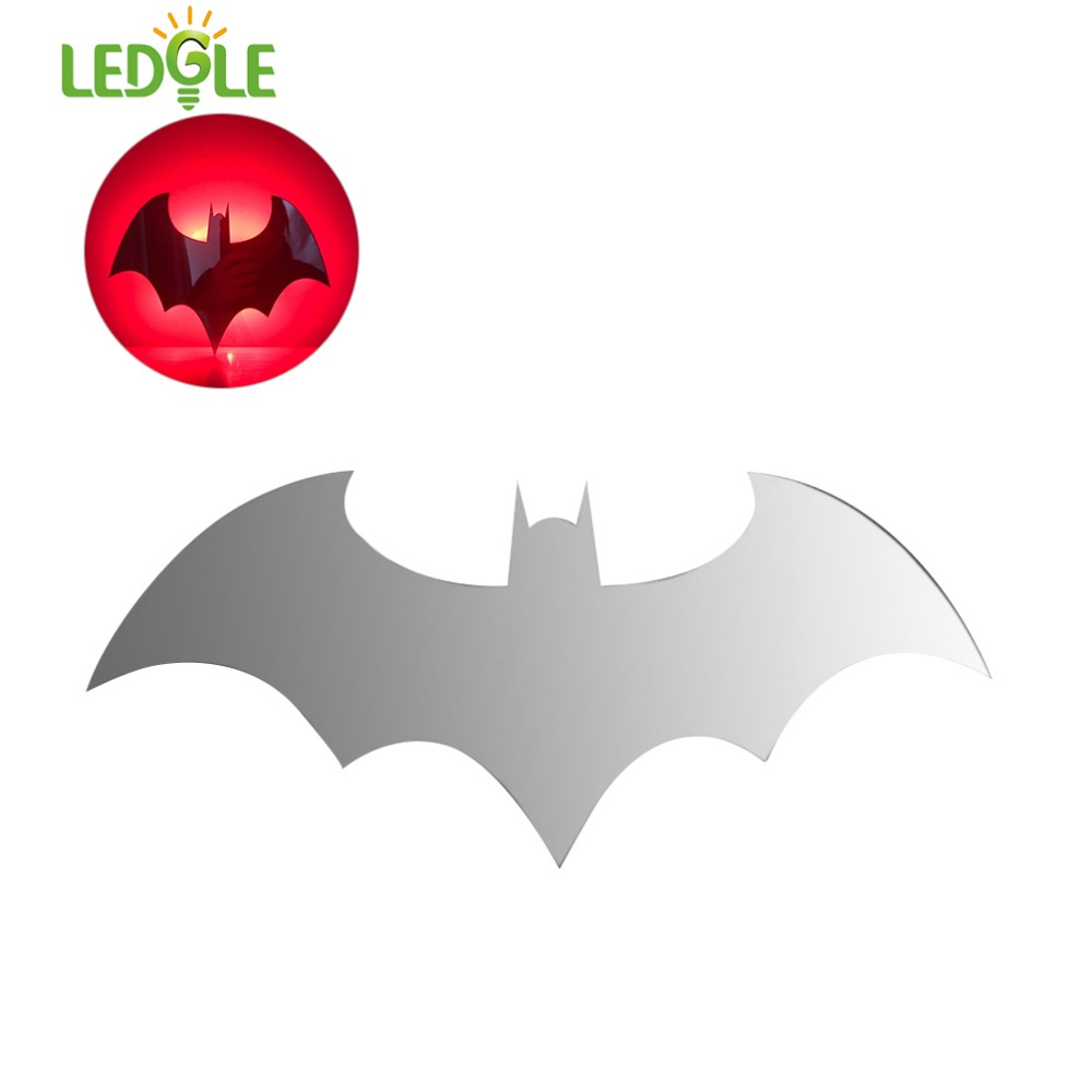 LEDGLE Creative Wall Lamp Unique Mirror Lights Batman LED Wall Lights with Multiple Color Modes, Remote Control, Battery Powered