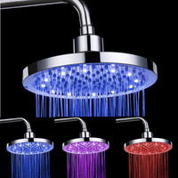 Bathroom shower head LED 8 inch round shower top spray power control temperature tricolor L0409