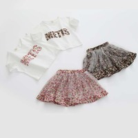 Free Shipping Summer Hot Sale 2015 Child Baby Girl Set Korean Chiffon T Shirt Short Skirt