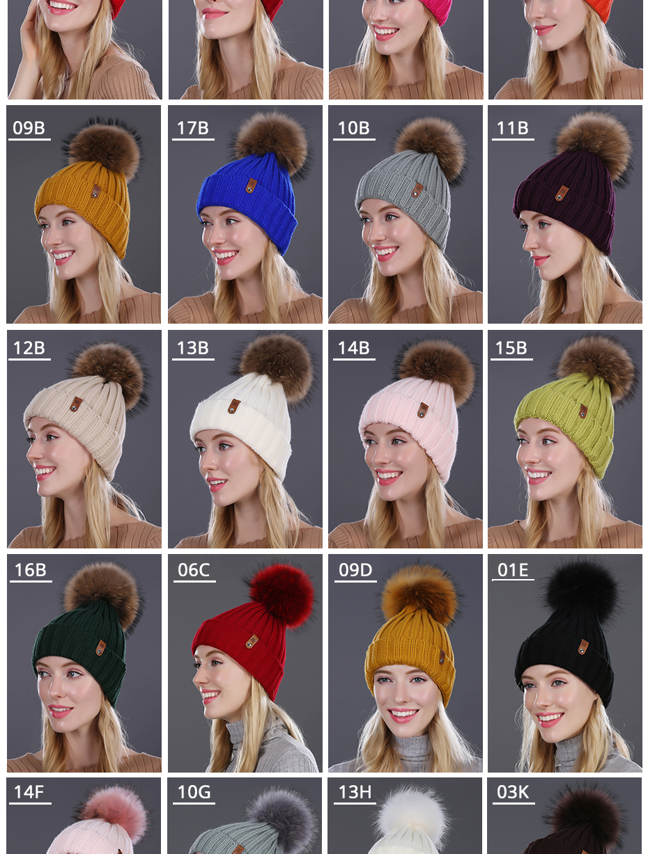 [FLB] Wholesale Real Mink Fur Pom Poms Knitted Hat Ball Beanies Winter Hat For Women Girl 'S Wool Hat Cotton Skullies Female Cap 38