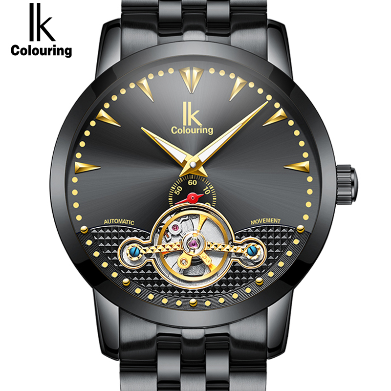 IK Genuine Men Gold Watches Automatic Mechanical Watch Male Skeleton Wristwatch Stainless Steel Band Luxury Brand Sports Design 2017 new s0llen top brand watches men hollow out skeleton mechanical watches male full steel band automatic luxury wristwatch