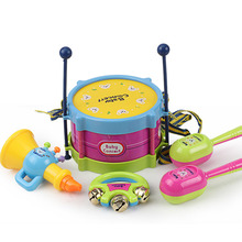 5Pcs Kids Instruments Drum Set Children Musical Band Rhythm Kit Roll Playing Toy