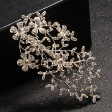 Elegant Leaf Wedding Bridal Hair Accessories Austrian Crystals Jewelry Rhinestone Bridal Party Hair Comb Hairpin 1Pcs Wholesale