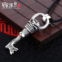 New style key pendant Beier 925 silver sterling skull pendant necklace free give black rope fashion Jewelry A0740