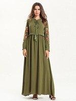 Bohemian Tassel Long Dress Muslim Embroidery Abaya Women Casual Long Sleeves Dubai Kaftan Muslim Party Dresses 7560