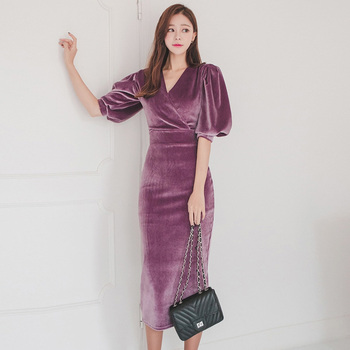 Elegant Puff Sleeve Velvet Women Dress 2019 V-neck Slim Waist Evening Special Occasion Mid-length Dresses Female Pencil Vestidos