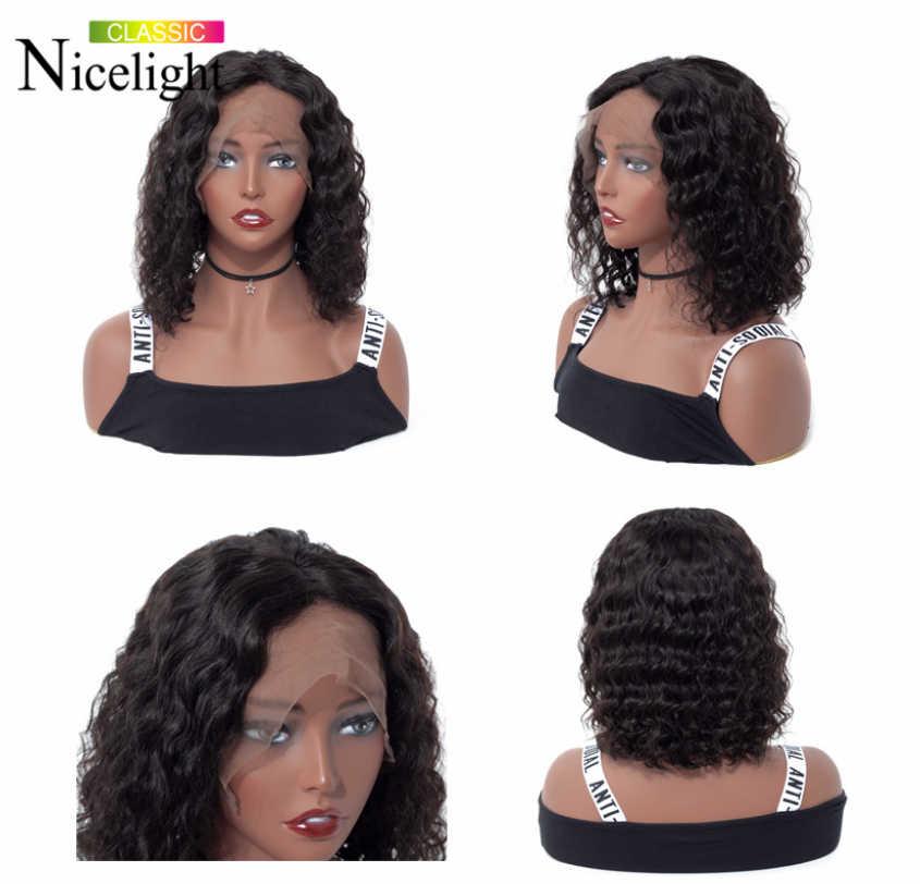 Peluca de Bob Frontal de onda de agua Peluca de pelo humano de Remy corta peluca Frontal de encaje de 13x4 peluca brasileña Nicelight cabello Natural