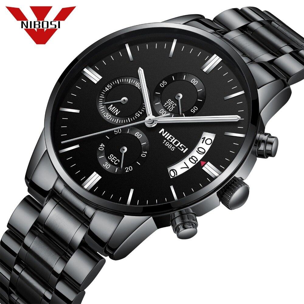 NIBOSI Relogio Masculino hombres relojes Top marca de lujo de los hombres de moda reloj de cuarzo militar relojes Saat 2309