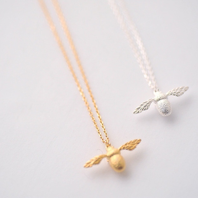 Fashion new high quality cute bee necklace fine jewelry silver gold fashion new high quality cute bee necklace fine jewelry silver gold color honey bee pendant necklace aloadofball Images