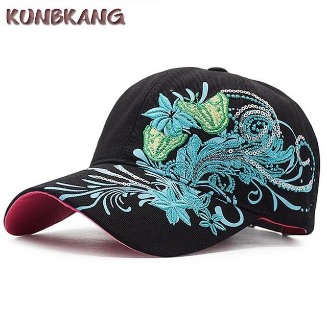 3c7007875698f Women Fashion Flower Butterfly Baseball Cap Girls Embroidery Cotton ...