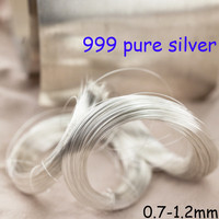 Metro 1 S9999 Pure Sólidos 999 Sterling Silver Fio Beading Stringing Jóias Acessórios Conector Rosca 0.7-1.2mm Filamento