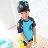 NEW Children Swimsuit Two Pieces Cute Baby Boy Swimwear Cartoon Dinosaur Kids Swim Suit Handsome Hot Spring Bathing Suit