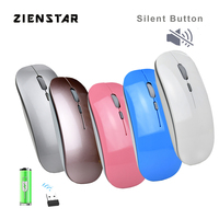 Zienstar Slim Mouse Sem Fio 2.4 Ghz com Receptor USB  Clique Silencioso  600 Mah Bateria De Lítio Recarregável para Mac  Laptop  PC