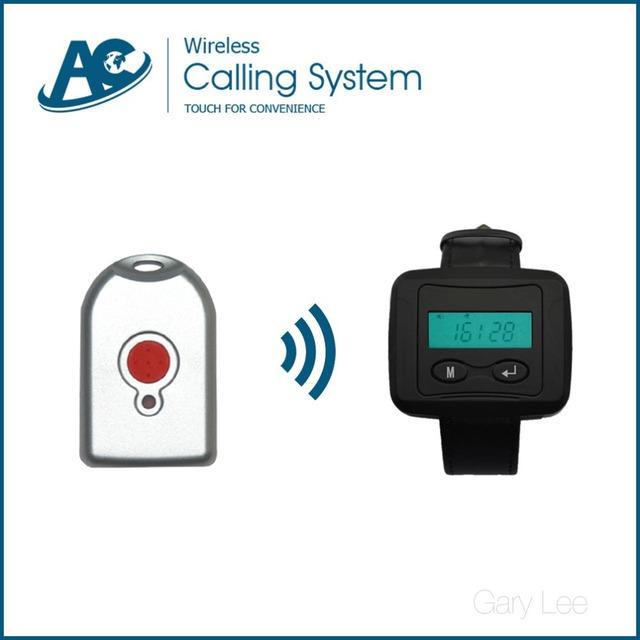 1 reloj receptor con 15 pulsadores de llamada inalámbrico reloj de la mano del sistema de campana de llamada de enfermera del hospital