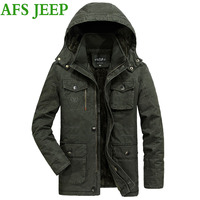 ירוק צבא מעיל החורף חם עבה גברים הגעה AFS JEEP גברים גודל גדול 8XL מאוד מעיל מעיל גברים מעיל מעיל כותנה ארוכה 190