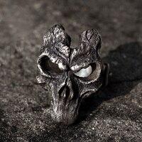 Личностные темные кольца 925 Серебряная маска черепа кольца для мужчин ювелирные изделия вечерние женские Байкер хипхоп рок ювелирные издел