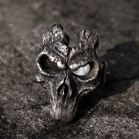 Personality Darksiders Ring 925 Silver Skull Mask Rings for Men Jewelry Party Gift Women Biker Hiphop Rock Jewelry Fashion