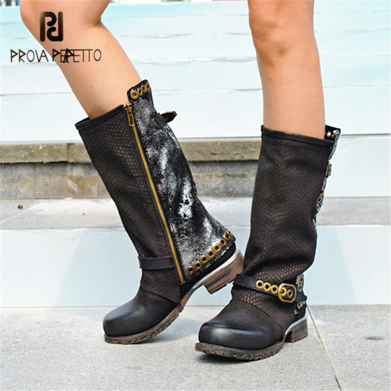 Prova Perfetto Black Genuine Leather Women Mid-calf Boots Retro Autumn Winter Flat Boots Rivets Platform Rubber Botas Militares prova perfetto yellow women mid calf boots fashion rivets studded riding boots lace up flat shoes woman platform botas militares