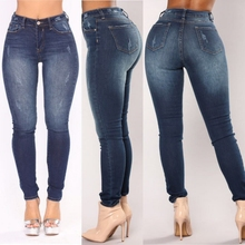 Plus Size Fashion Jeans Women Pencil Pants High Waist Jeans Sexy Slim Elastic Skinny Pants Trousers Fit Lady Jeans  2019 New spring new women jeans slim elastic straight trousers ladies fashion full length casual jeans plus size blue skinny pencil pants