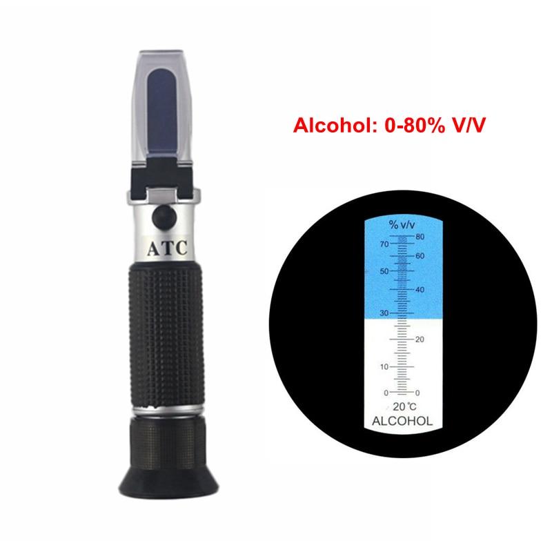 Portable Alcohol Refractometer Alcohol concentration Tester 0 80% V/V Liquor Refractometer ATC Alcoholometer Meter No Retail Box|Refractometers| |  - title=