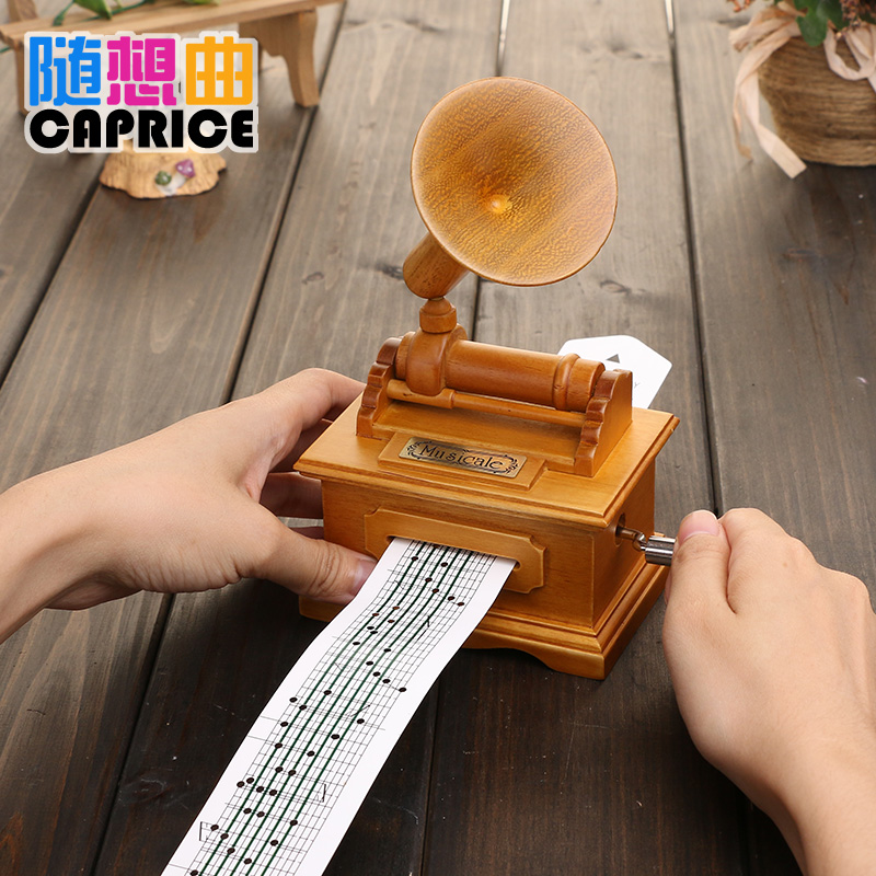 Shipping creative boutique DIY tape Victrola wooden font b music b font font b box b