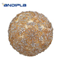 Luxurious Wedding Bouquet Crystal Rhinestone Gold Color Nosegay Bridesmaid Bridal Bouquets Accessories Home Decoration Crafts