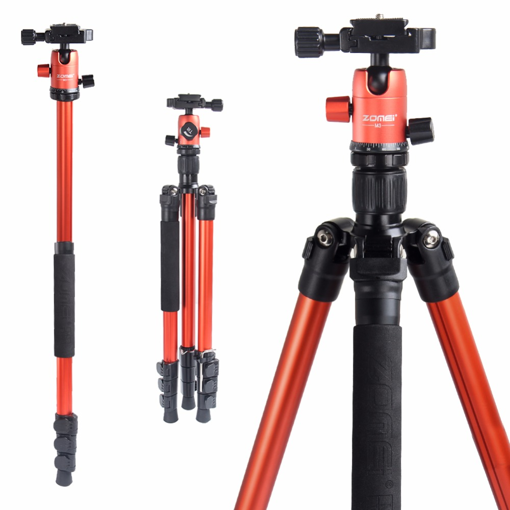 ZOMEI M3 Camera Tripod & Monopod Light Weight Travel Tripod With 360 Degree Ball Head And Carry Bag For SLR DSLR Digital Camera