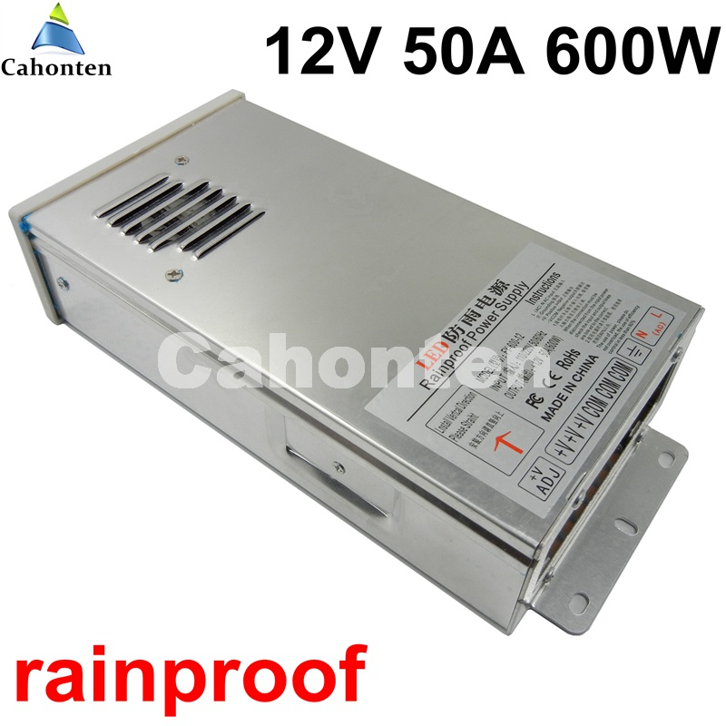 free ship 12V 50A 600W rainproof switching power supply AC to DC transformer input AC110V 220V to DC12V Power Adapter meanwell 12v 350w ul certificated nes series switching power supply 85 264v ac to 12v dc