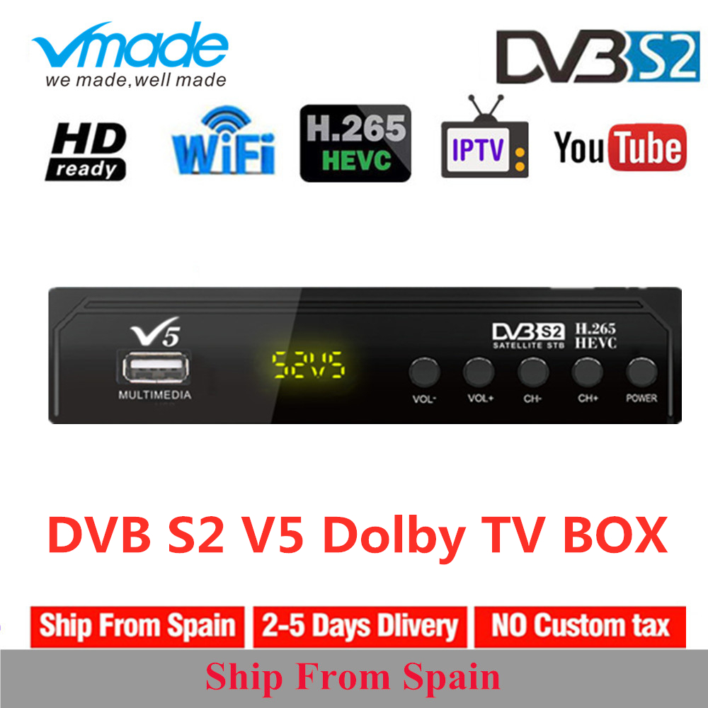Vmade Satellite Receiver TV Tuner Decoder V5 DVB-S2 LNB With Europe Portugal Spain Channels Account Support Powervu HD Receptor