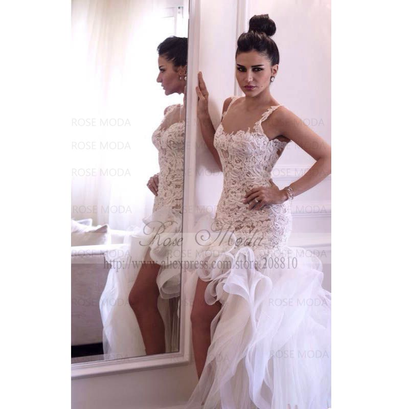 Fashion Backless Lace Trumpet Wedding Dress with High Slit French ...