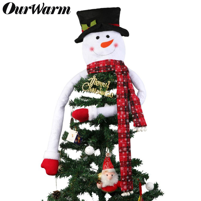 Us 10 5 40 Off Ourwarm Lovely Snowman Christmas Tree Topper Xmas Decor With Hat Snowflake Scarf New Year Christmas Decoration For Home Store In