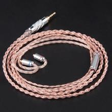 7N Wooeasy 4 Núcleo Único Cable de Cobre libre De Oxígeno 2.5/3.5mm Rosa Equilibrada Cable Con MMCX/2pin Para LZ A5 A4 KZ ZSR ZST ZS5 ZS6