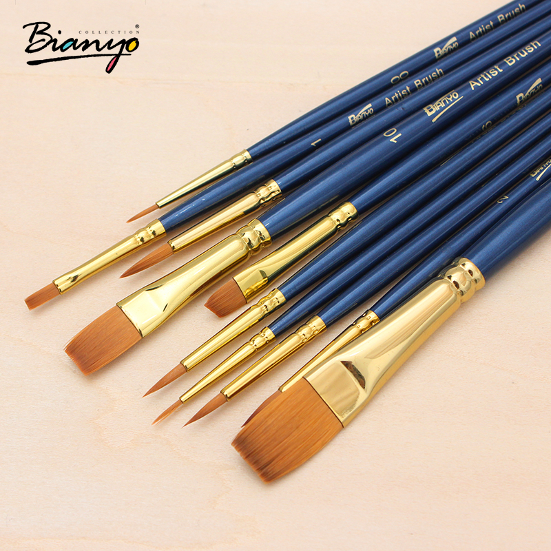 Bianyo 10Pcs/Set Nylon Hair Wooden Watercolor Paintbrush Set For Arylic Gouache Drawing Painting Brushes School Art Supplies active style slimming long sleeves round neck quick dry close fitting logo print solid color men s cotton blend t shirt