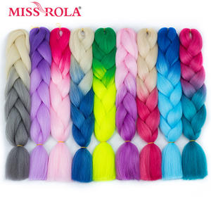 Braiding-Hair Crochet 100g-Rainbow Color Miss-Rola Synthetic Ombre 24-High-Temperature-Fiber