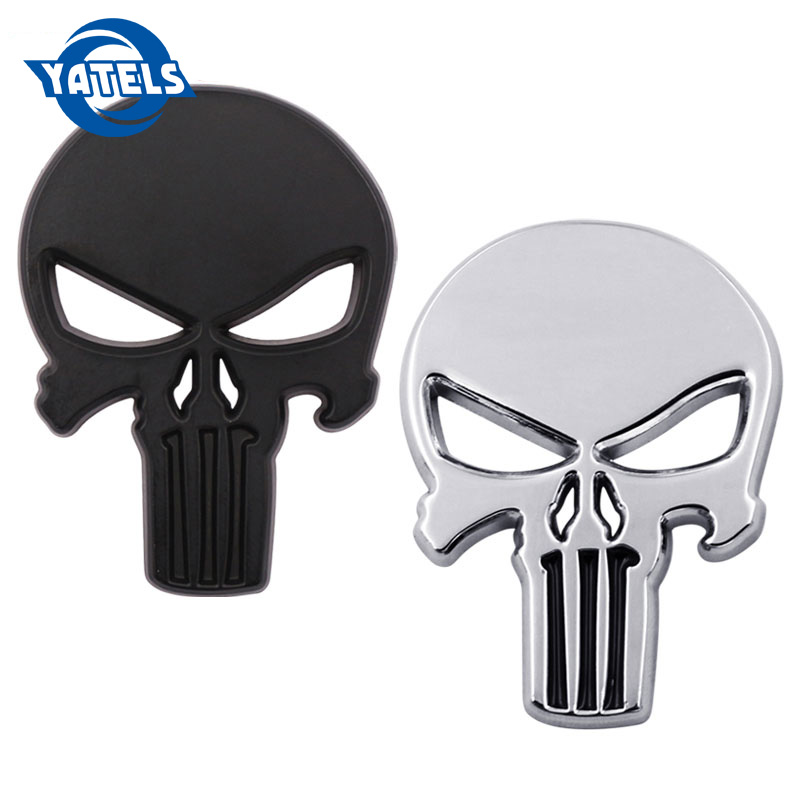 3D Skull Rhino Tuning THE Punisher Body Badge Sticker Metal Auto Emblem For The Whole Body QX80 FX35 G25 Q70 QX60 Car Styling