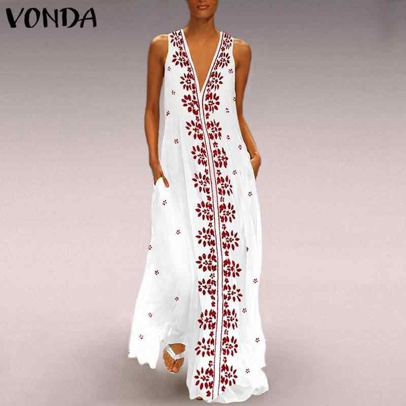 2020 VONDA, Vestido bohemio con estampado Floral para mujer, Vestido de playa de verano Vintage con cuello en V sin mangas, Vestido largo Maxi para fiesta, Vestido S-5XL