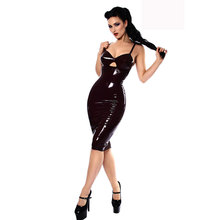 Leather PVC Bodycon Dress Spaghetti Strap backless Evening Party Sheath Pencil Dress sexy Club Vestidos w6175 charming spaghetti strap backless solid color bodycon dress for women