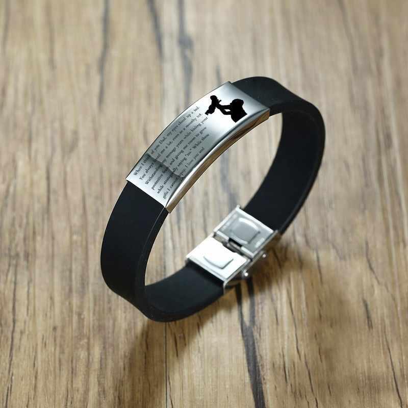 Vnox dzień ojca prezent dla taty miękka silikonowa bransoletka dla mężczyzn regulowana długość ze stali nierdzewnej ID Bar dostosuj grawerowanie Bangle