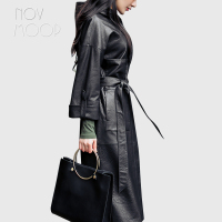 Women black real lambskin pebbled leather long trench coat hooded tie waist outwear windbreaker casaco feminino LT2590 FREE SHIP